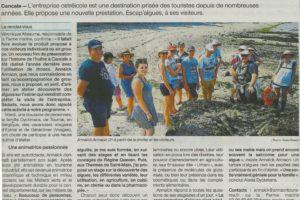 """Article Ouest-France Cancale """"A la découverte des algues avec la Ferme Marine"""" – 25/07/2019"""