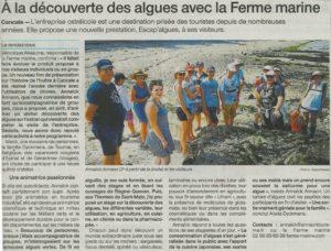 Article Ouest-France Cancale «A la découverte des algues avec la Ferme Marine» – 25/07/2019