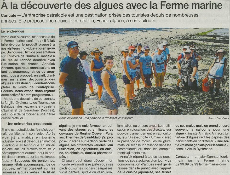 """Article Ouest-France Cancale """"A la découverte des algues avec la Ferme Marine"""" - 25/07/2019"""